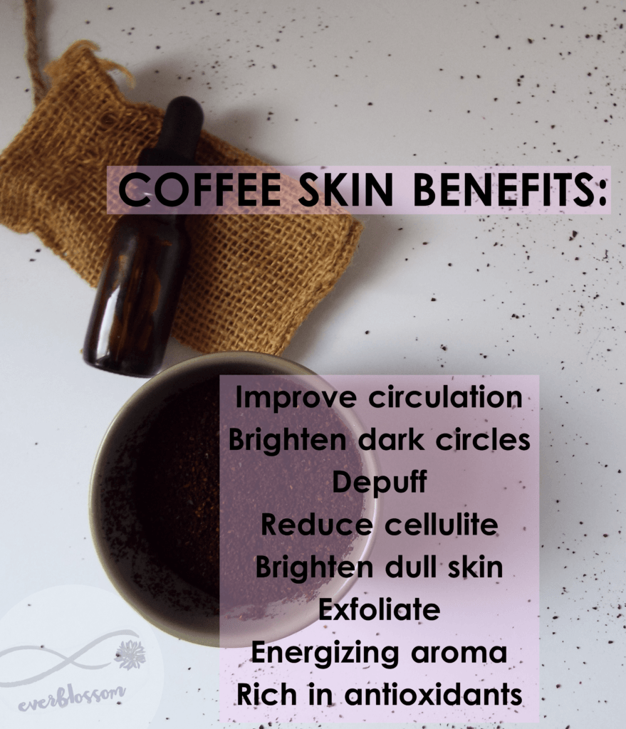 "Coffee eye serum and coffee grounds. Caption: ""Coffee Skin Benefits: improve circulation, brighten dark circles, depurr, reduce cellulite, brighten dead skin, exfoliate, energizing aroma, rich in antioxidants"""