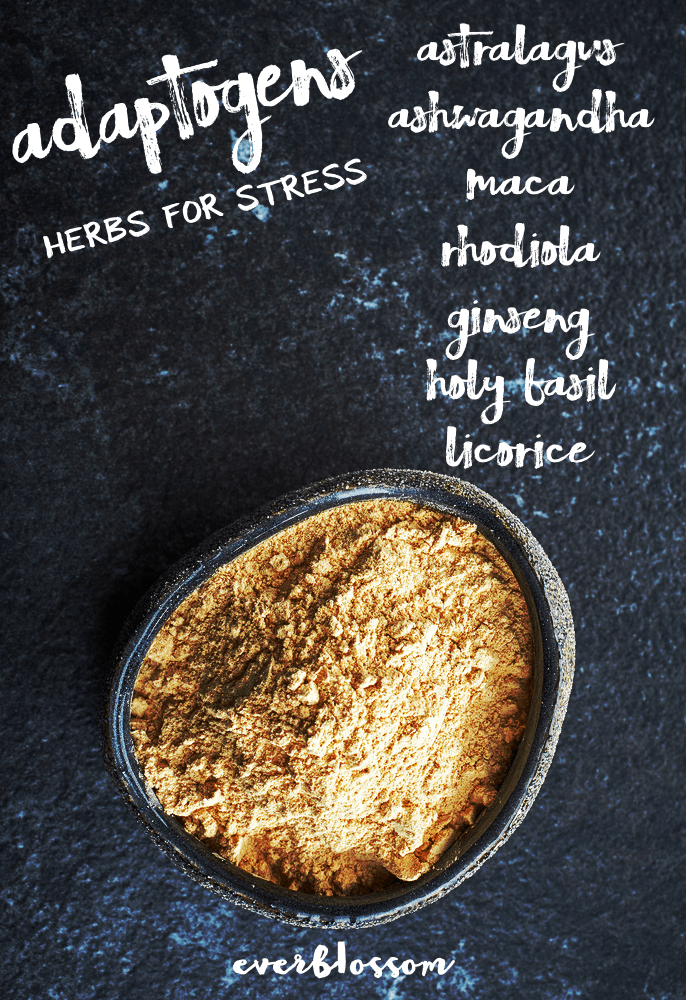 Maca + other adaptogenic herbs for stress: strengthen + stand up to stress.