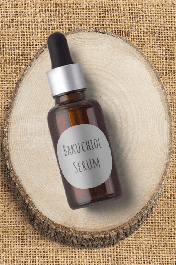 Bakuchiol serum in a glass dropper bottle