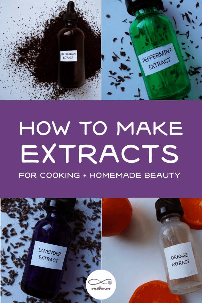 "Homemade extracts with caption: ""how to make extracts for cooking + homemade beauty"""