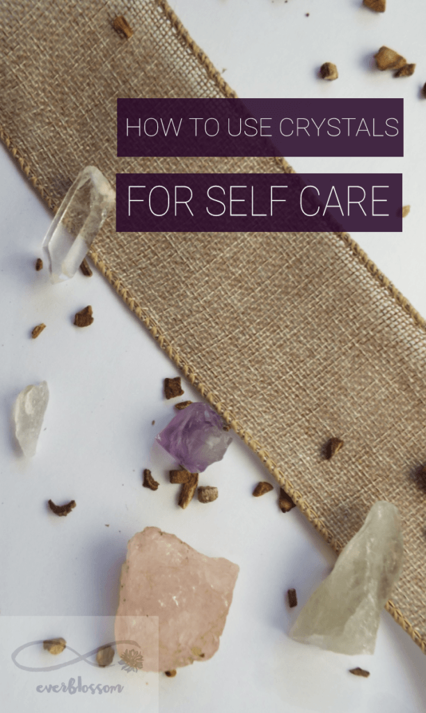 "Crystals with caption: ""How to use crystals for self care"""