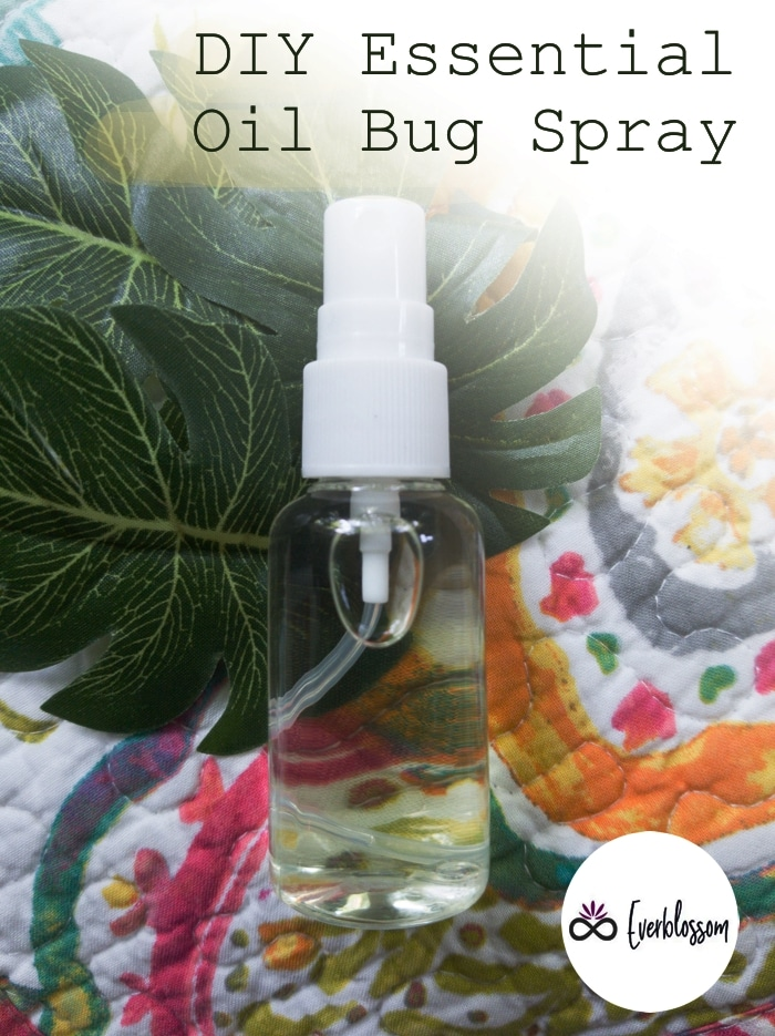 "Image of a spray bottle with caption: ""DIY Essential Oil Bug Spray"""