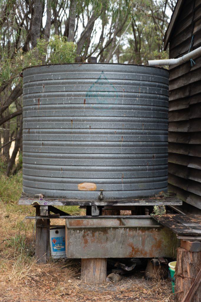 Large metal rain barrel